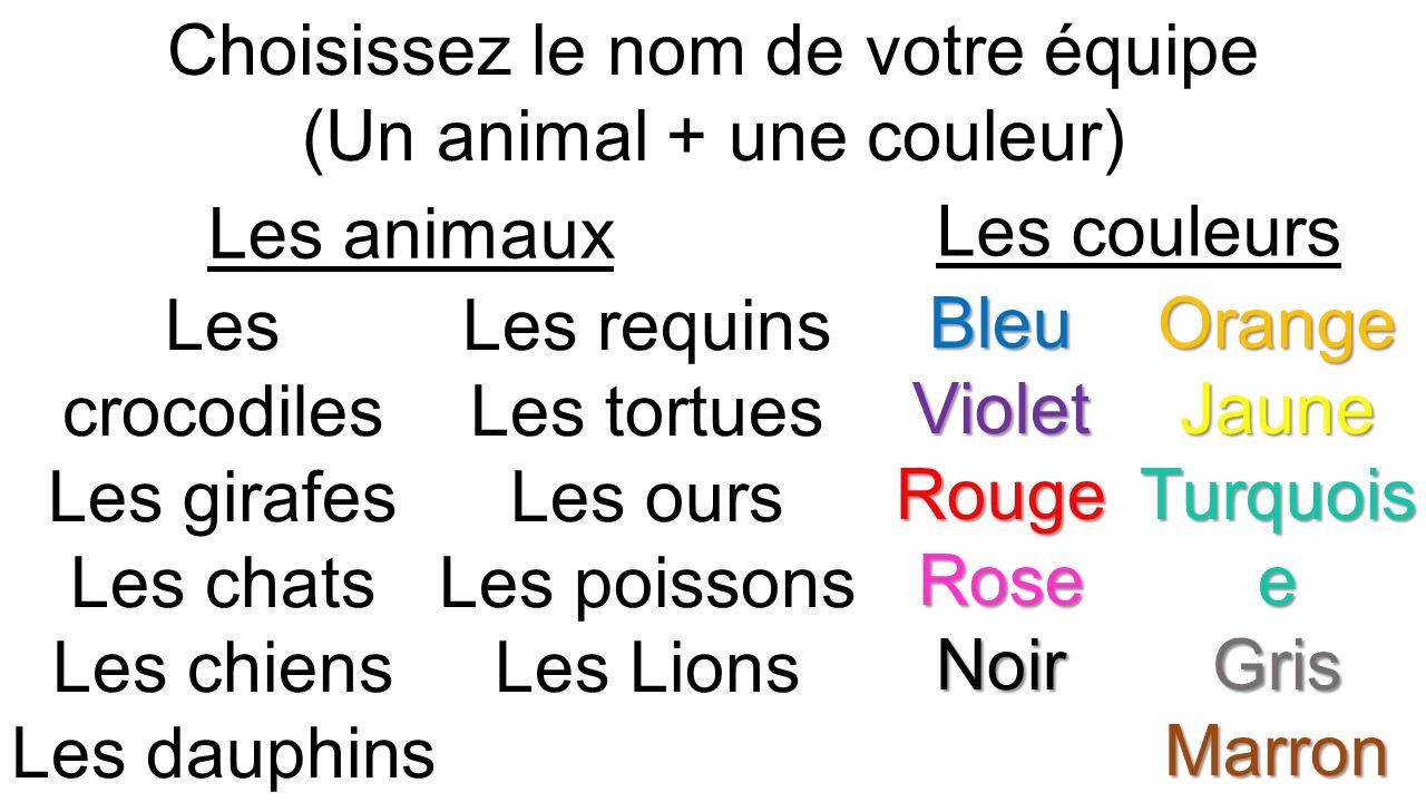 Choisissez le nom de votre équipe (Un animal + une couleur) Les crocodiles Les girafes Les chats Les chiens Les dauphins Les oiseaux Les requins Les tortues Les ours Les poissons Les Lions BleuVioletRougeRoseNoirVertOrangeJaune Turquois e GrisMarron Les couleurs Les animaux