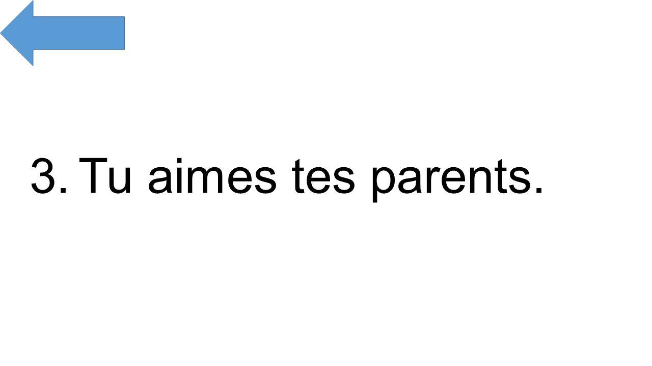 3.Tu aimes tes parents.