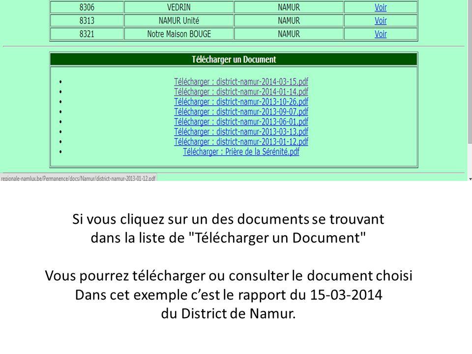 Si vous cliquez sur un des documents se trouvant dans la liste de Télécharger un Document Vous pourrez télécharger ou consulter le document choisi Dans cet exemple c'est le rapport du 15-03-2014 du District de Namur.
