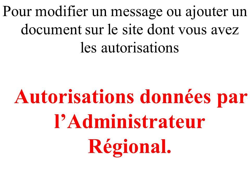 Pour modifier un message ou ajouter un document sur le site dont vous avez les autorisations Autorisations données par l'Administrateur Régional.