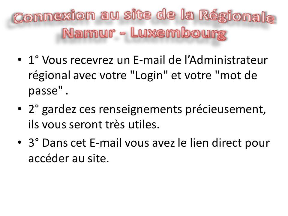 1° Vous recevrez un E-mail de l'Administrateur régional avec votre Login et votre mot de passe .