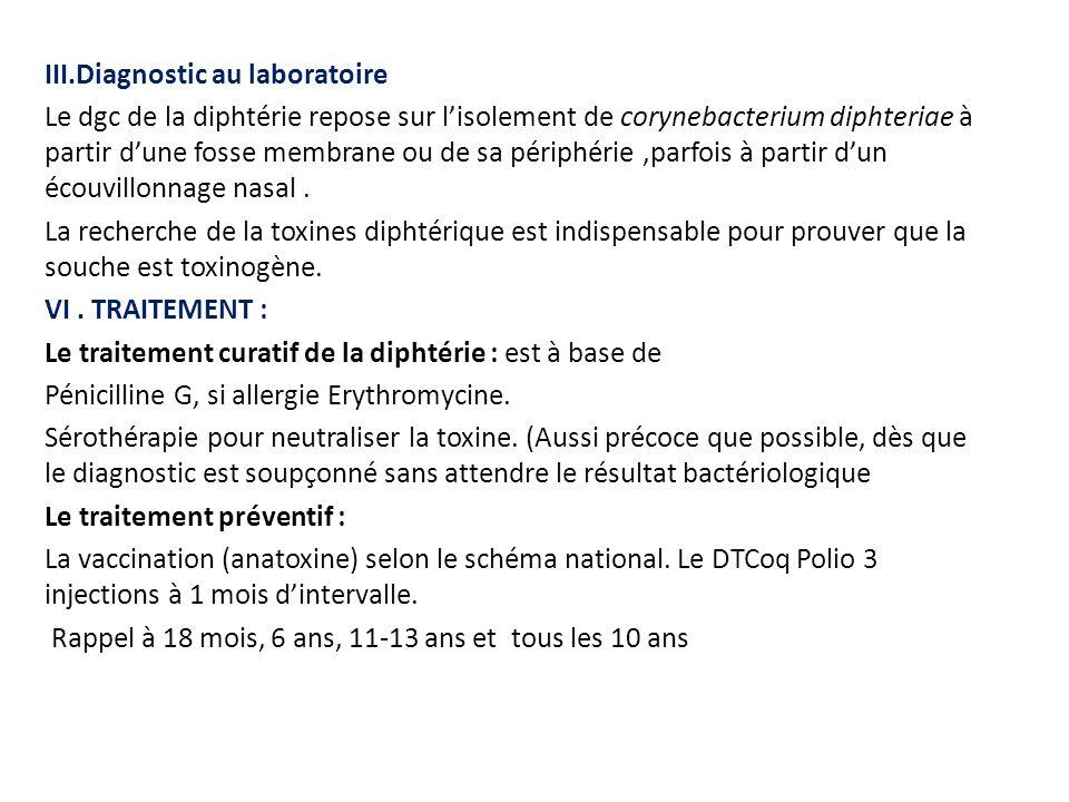 III.Diagnostic au laboratoire Le dgc de la diphtérie repose sur l'isolement de corynebacterium diphteriae à partir d'une fosse membrane ou de sa périp