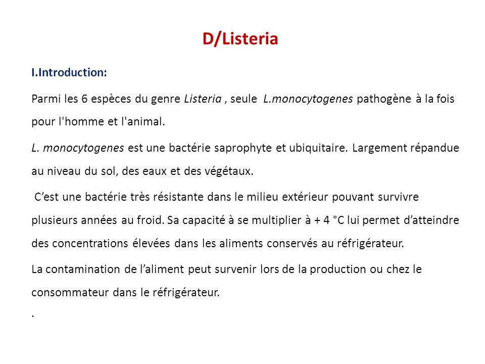 D/Listeria I.Introduction: Parmi les 6 espèces du genre Listeria, seule L.monocytogenes pathogène à la fois pour l'homme et l'animal. L. monocytogenes