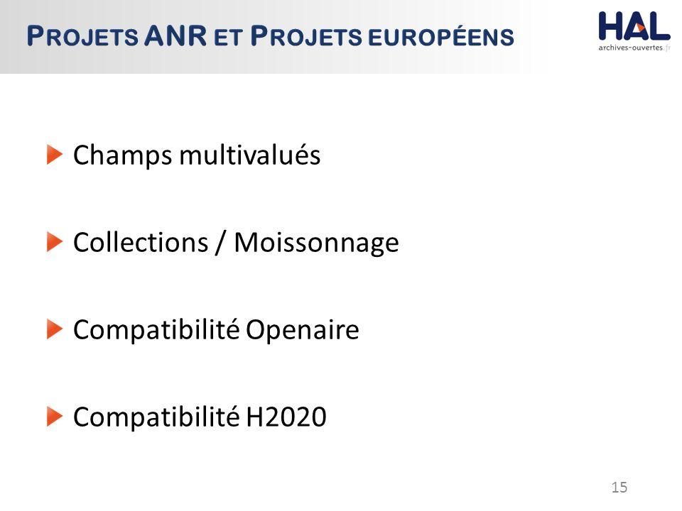 Champs multivalués Collections / Moissonnage Compatibilité Openaire Compatibilité H2020 15