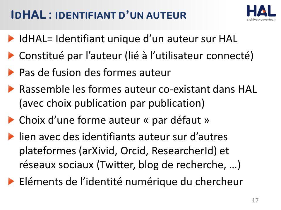 IdHAL= Identifiant unique d'un auteur sur HAL Constitué par l'auteur (lié à l'utilisateur connecté) Pas de fusion des formes auteur Rassemble les formes auteur co-existant dans HAL (avec choix publication par publication) Choix d'une forme auteur « par défaut » lien avec des identifiants auteur sur d'autres plateformes (arXivid, Orcid, ResearcherId) et réseaux sociaux (Twitter, blog de recherche, …) Eléments de l'identité numérique du chercheur 17