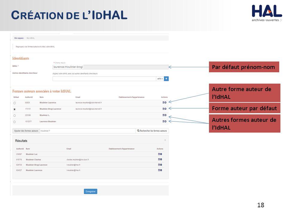 18 Par défaut prénom-nom Forme auteur par défaut Autres formes auteur de l'IdHAL Autre forme auteur de l'IdHAL