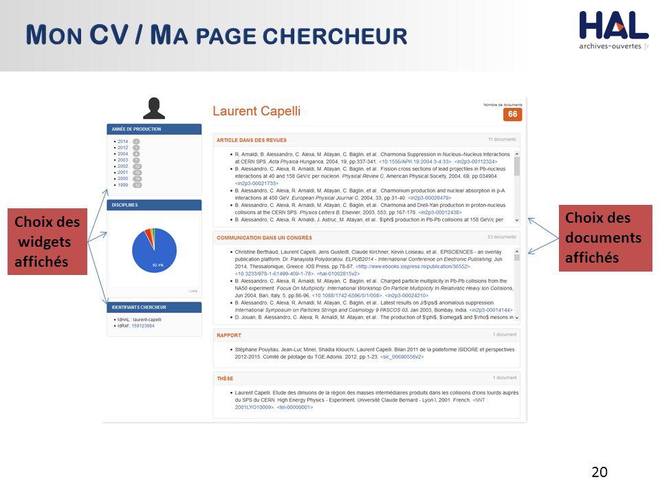 20 Choix des widgets affichés Choix des documents affichés