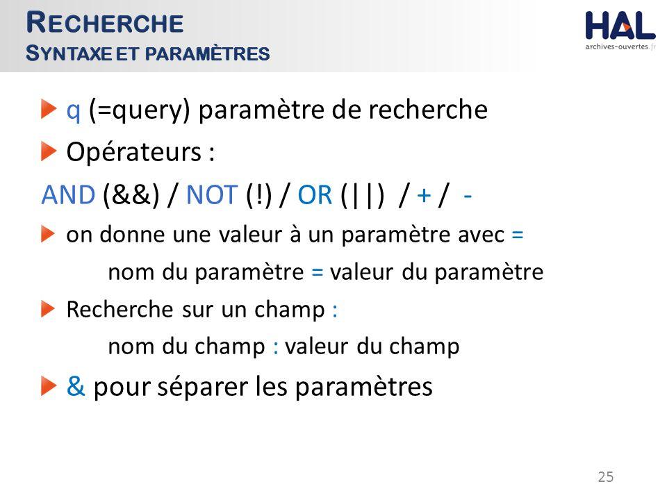 q (=query) paramètre de recherche Opérateurs : AND (&&) / NOT (!) / OR (||) / + / - on donne une valeur à un paramètre avec = nom du paramètre = valeur du paramètre Recherche sur un champ : nom du champ : valeur du champ & pour séparer les paramètres 25
