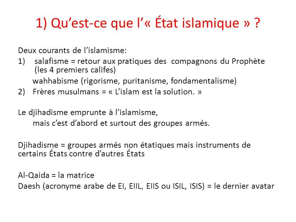 Deux courants de l'islamisme: 1)salafisme = retour aux pratiques des compagnons du Prophète (les 4 premiers califes) wahhabisme (rigorisme, puritanism