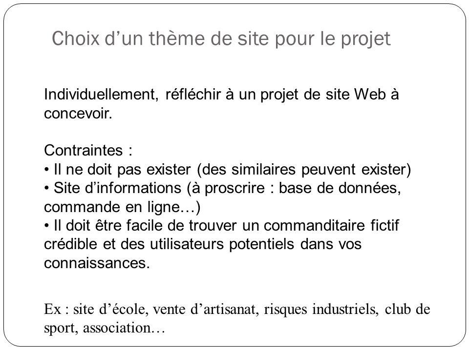 Choix d'un thème de site pour le projet Individuellement, réfléchir à un projet de site Web à concevoir. Contraintes : Il ne doit pas exister (des sim
