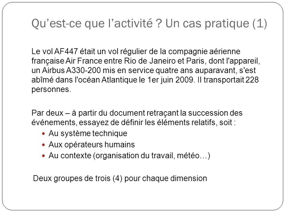Qu'est-ce que l'activité ? Un cas pratique (1) Le vol AF447 était un vol régulier de la compagnie aérienne française Air France entre Rio de Janeiro e