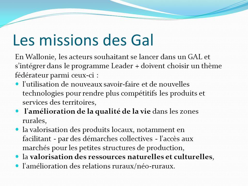 Les missions des Gal En Wallonie, les acteurs souhaitant se lancer dans un GAL et s'intégrer dans le programme Leader + doivent choisir un thème fédér