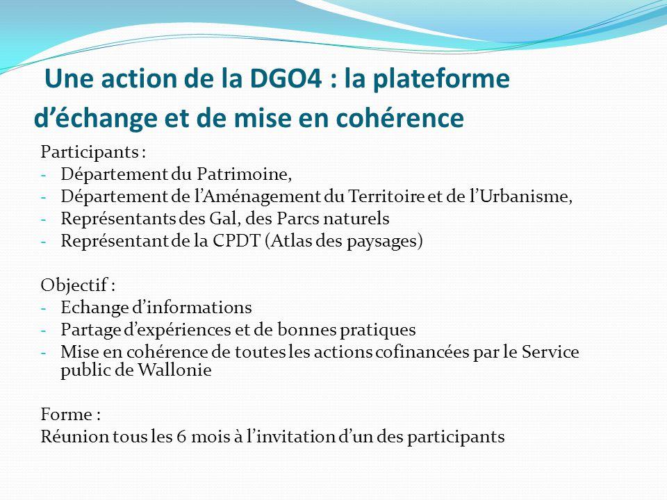 Une action de la DGO4 : la plateforme d'échange et de mise en cohérence Participants : - Département du Patrimoine, - Département de l'Aménagement du
