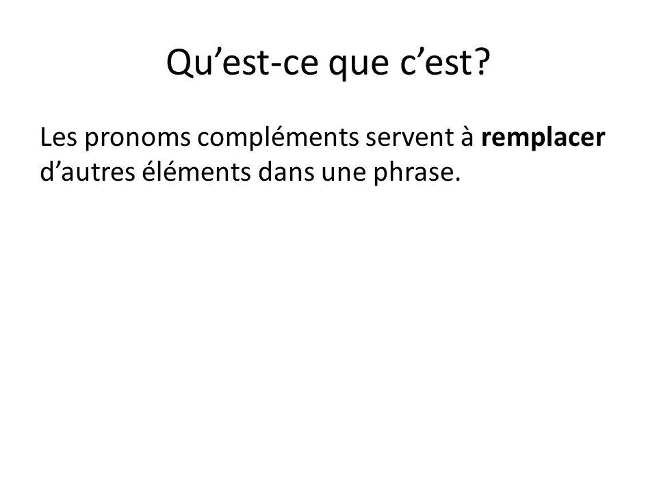 Qu'est-ce que c'est? Les pronoms compléments servent à remplacer d'autres éléments dans une phrase.