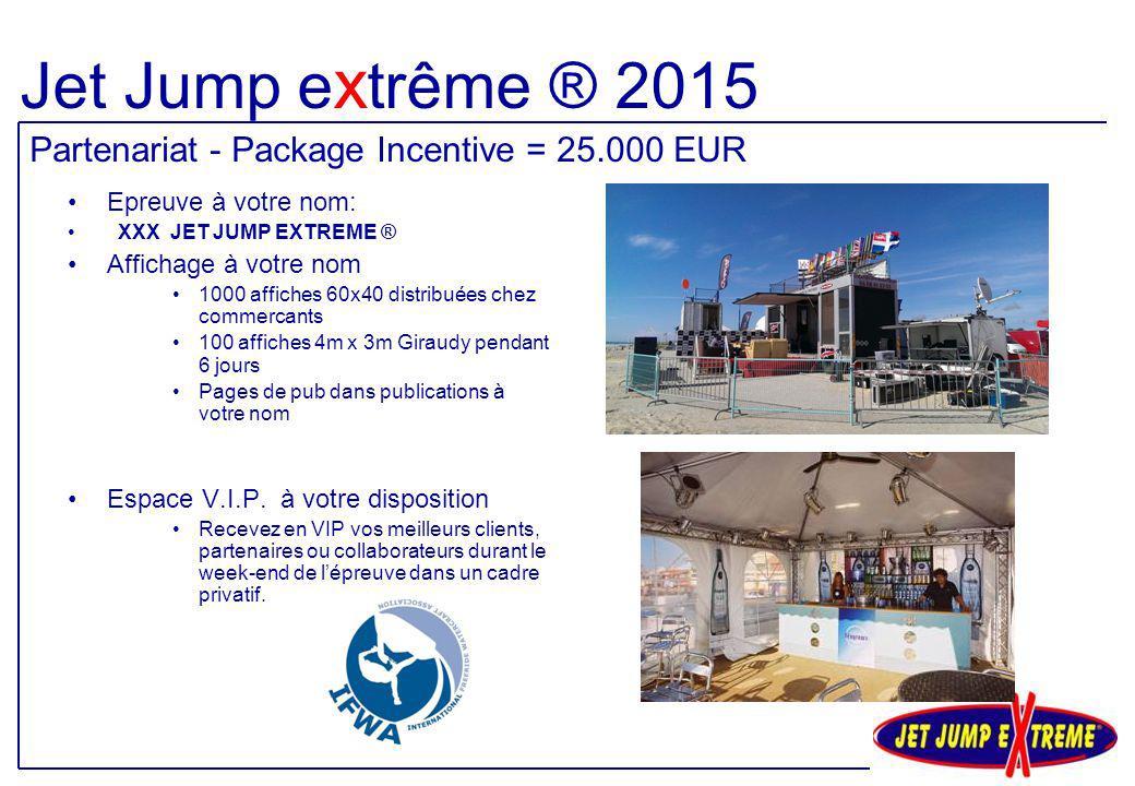 Epreuve à votre nom: XXX JET JUMP EXTREME ® Affichage à votre nom 1000 affiches 60x40 distribuées chez commercants 100 affiches 4m x 3m Giraudy pendan