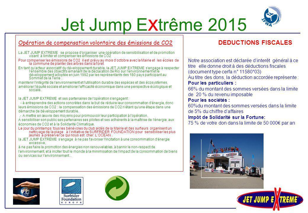 Brochure 2015 prête mi-février 1.000 posters 60 x 80 cm format A3 3.000 FLYERS distribués en GIRONDE Annonces full quadri dans : PRO RIDER MAGAZINE (USA) - Jetsport (USA) – MOTORWAVES(FR) –JetNews(FR) HydroJet (FR) - Jetskier (UK) - Personal Watercraft (USA) – JET WAVES(FR) Affichage 4x3 réseau tournant 125 postes sur 3 semaines Insertions dans les publications officielles des associations nationales de jetski Annonces dans magazines sportifs Annonces dans d'autres magazines Publications, Brochures et autres Jet Jump e x trême 2015