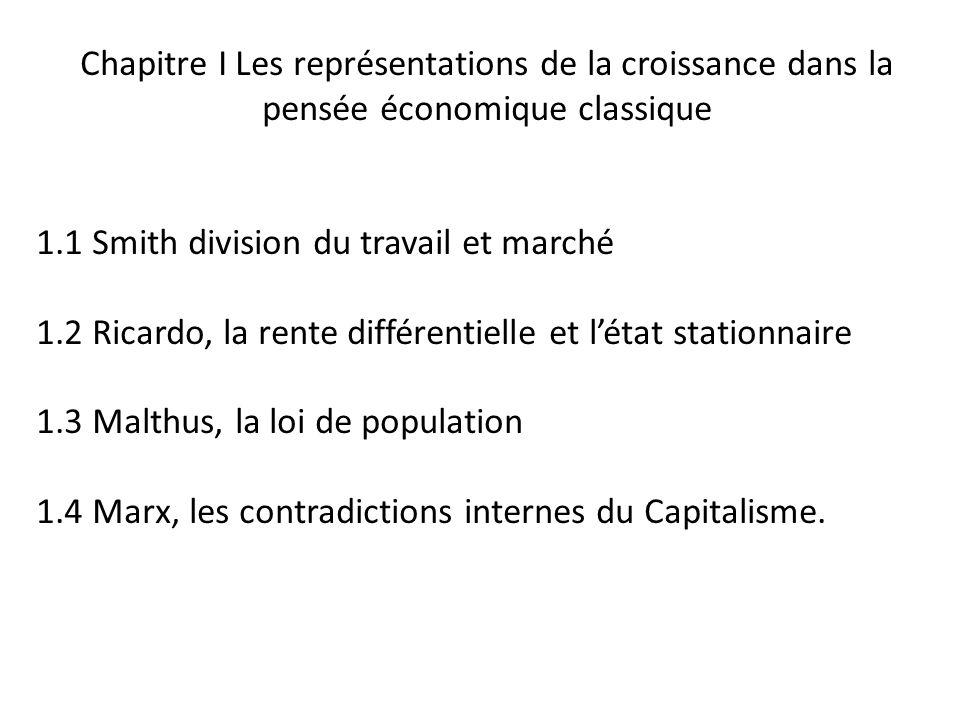 Chapitre I Les représentations de la croissance dans la pensée économique classique 1.1 Smith division du travail et marché 1.2 Ricardo, la rente diff