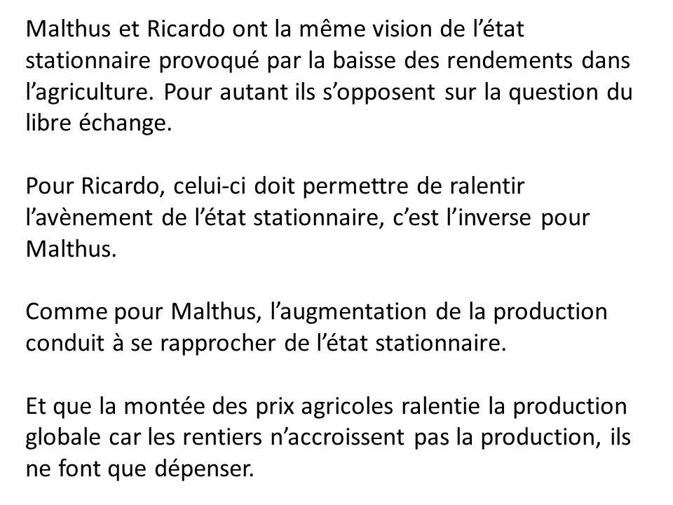 Malthus et Ricardo ont la même vision de l'état stationnaire provoqué par la baisse des rendements dans l'agriculture. Pour autant ils s'opposent sur