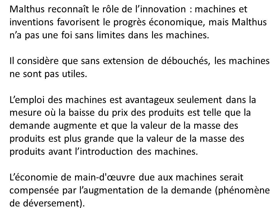 Malthus reconnaît le rôle de l'innovation : machines et inventions favorisent le progrès économique, mais Malthus n'a pas une foi sans limites dans le