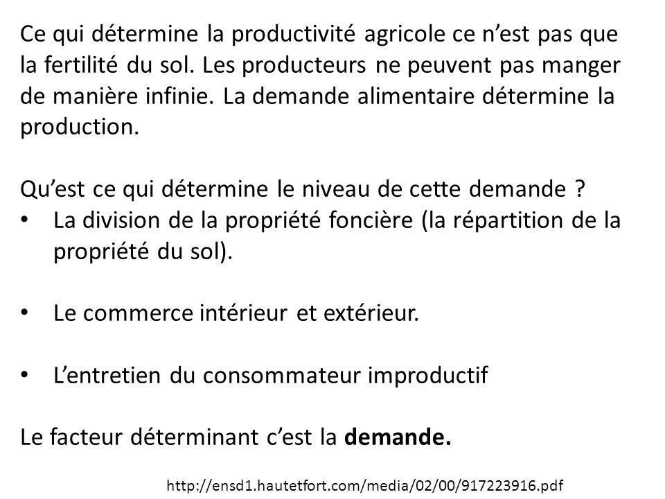 Ce qui détermine la productivité agricole ce n'est pas que la fertilité du sol. Les producteurs ne peuvent pas manger de manière infinie. La demande a