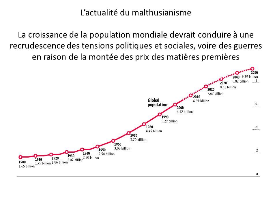L'actualité du malthusianisme La croissance de la population mondiale devrait conduire à une recrudescence des tensions politiques et sociales, voire