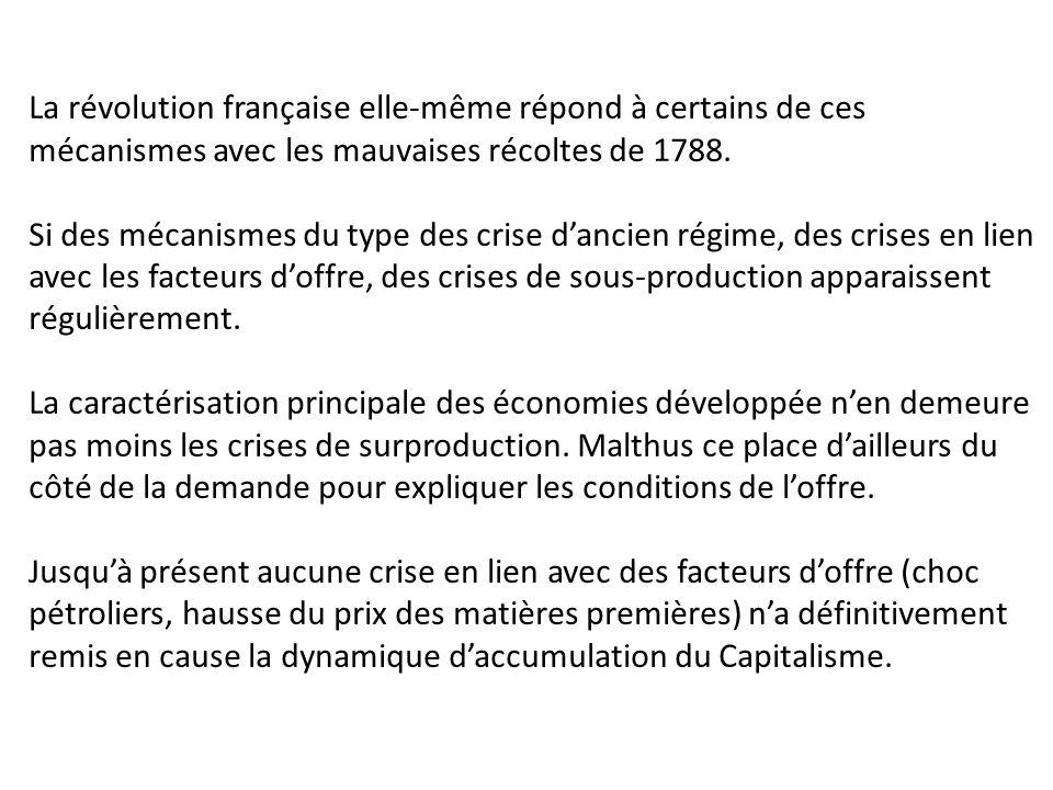 La révolution française elle-même répond à certains de ces mécanismes avec les mauvaises récoltes de 1788. Si des mécanismes du type des crise d'ancie