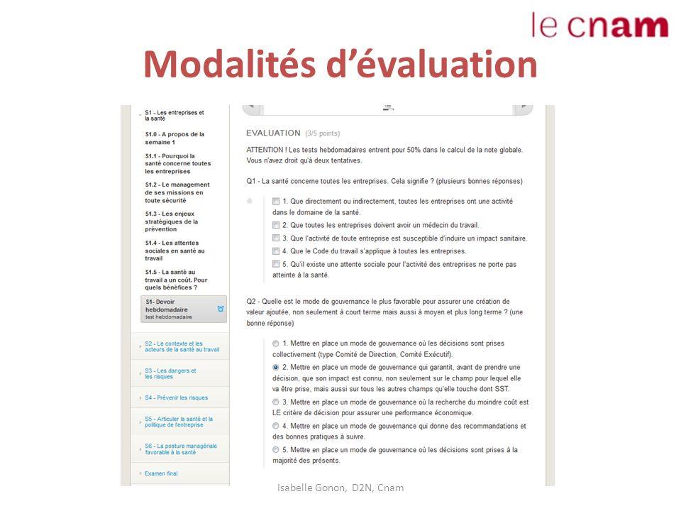 Modalités d'évaluation Isabelle Gonon, D2N, Cnam