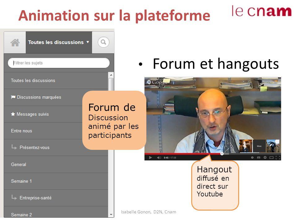 Animation sur la plateforme Forum et hangouts Isabelle Gonon, D2N, Cnam Forum de Discussion animé par les participants Hangout diffusé en direct sur Y