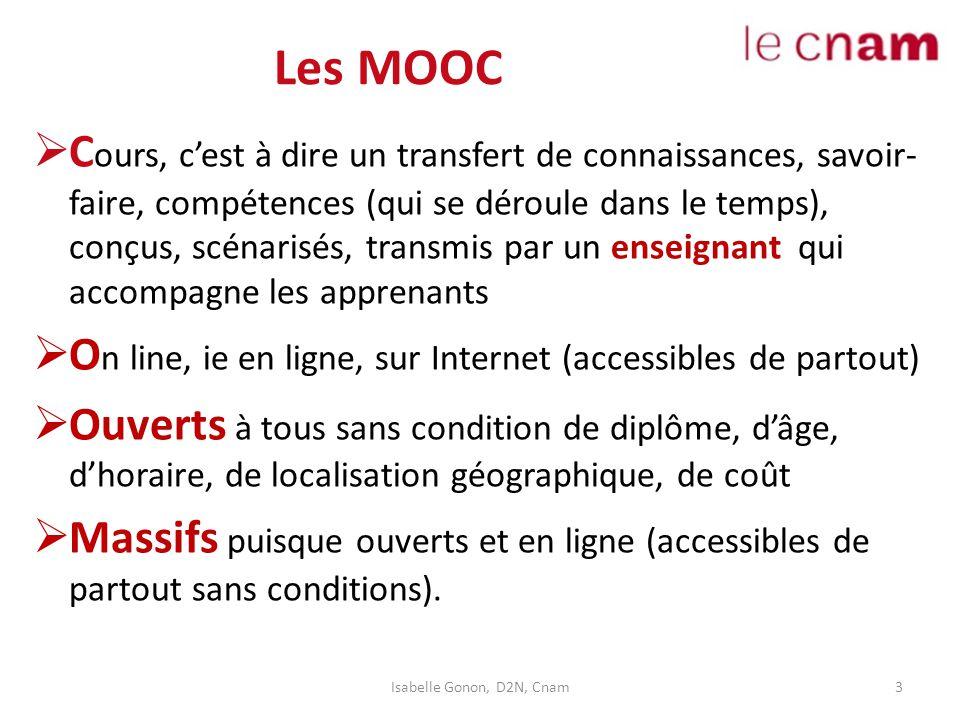 Les MOOC  C ours, c'est à dire un transfert de connaissances, savoir- faire, compétences (qui se déroule dans le temps), conçus, scénarisés, transmis