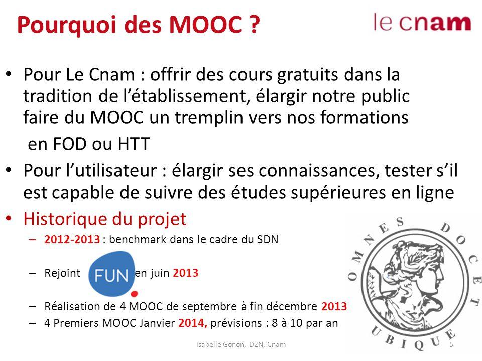 Pourquoi des MOOC ? Pour Le Cnam : offrir des cours gratuits dans la tradition de l'établissement, élargir notre public faire du MOOC un tremplin vers