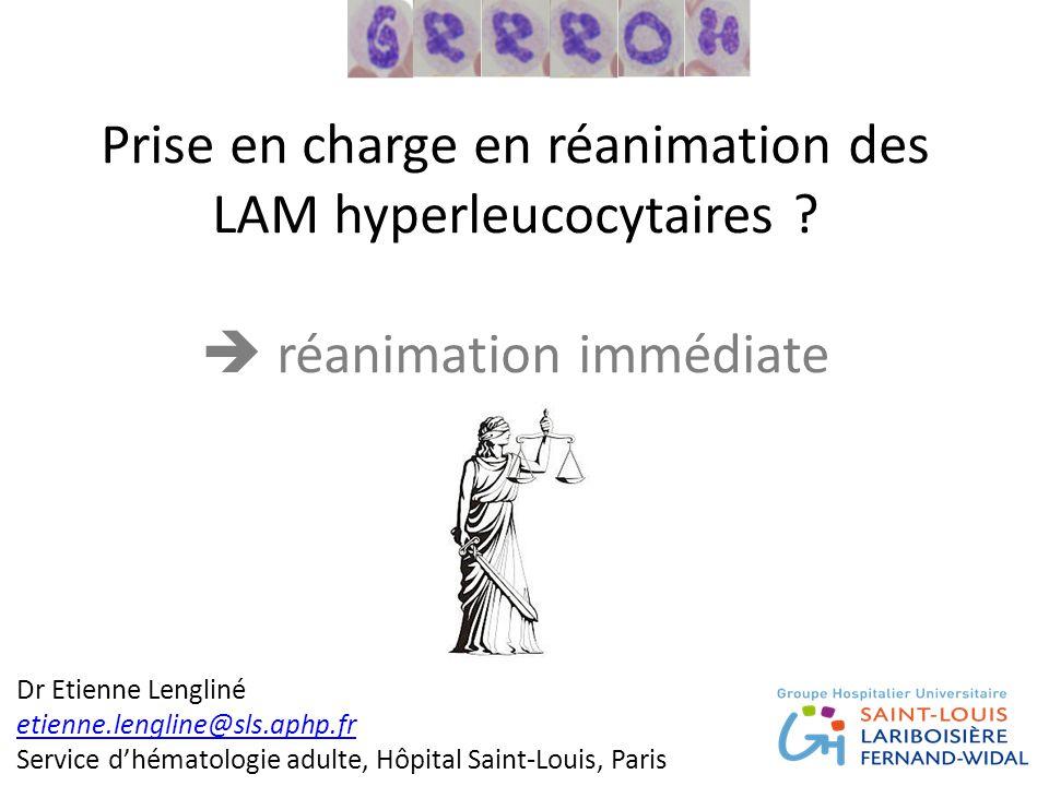 Prise en charge en réanimation des LAM hyperleucocytaires ?  réanimation immédiate Dr Etienne Lengliné etienne.lengline@sls.aphp.fr Service d'hématol