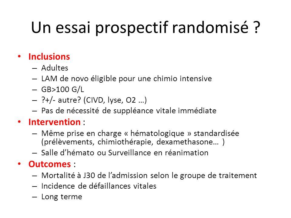 Un essai prospectif randomisé ? Inclusions – Adultes – LAM de novo éligible pour une chimio intensive – GB>100 G/L – ?+/- autre? (CIVD, lyse, O2 …) –