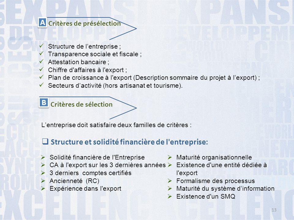 A A Critères de présélection Structure de l'entreprise ; Transparence sociale et fiscale ; Attestation bancaire ; Chiffre d'affaires à l'export ; Plan