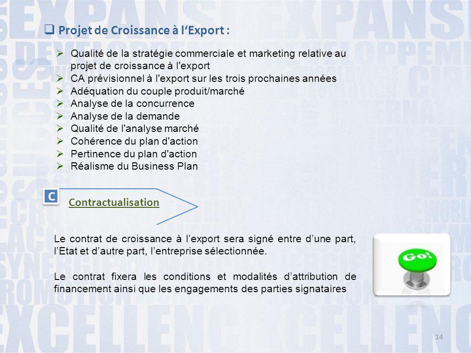  Projet de Croissance à l'Export :  Qualité de la stratégie commerciale et marketing relative au projet de croissance à l'export  CA prévisionnel à