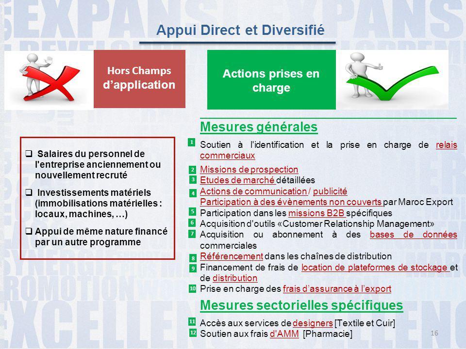 Appui Direct et Diversifié  Salaires du personnel de l'entreprise anciennement ou nouvellement recruté  Investissements matériels (immobilisations m