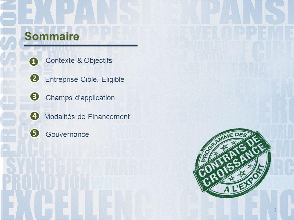 Sommaire 1 2 3 Contexte & Objectifs Entreprise Cible, Eligible 4 Champs d'application 5 Gouvernance 2 Modalités de Financement