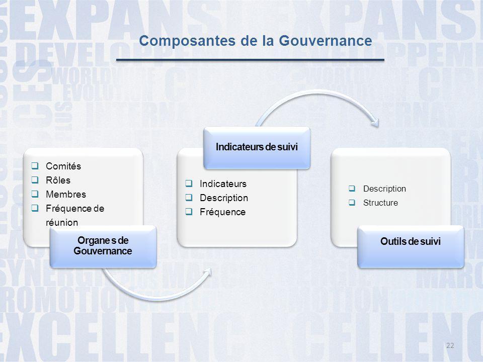 Composantes de la Gouvernance Organe s de Gouvernance Indicateurs de suivi Outils de suivi  Comités  Rôles  Membres  Fréquence de réunion  Indica