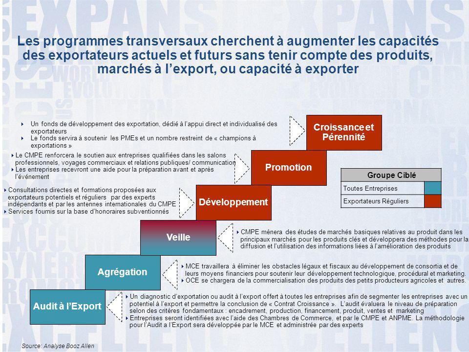 5 Les programmes transversaux cherchent à augmenter les capacités des exportateurs actuels et futurs sans tenir compte des produits, marchés à l'expor