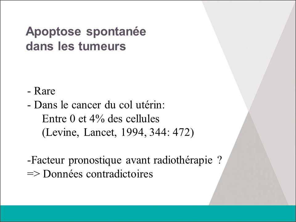 Apoptose spontanée dans les tumeurs - Rare - Dans le cancer du col utérin: Entre 0 et 4% des cellules (Levine, Lancet, 1994, 344: 472) -Facteur pronos