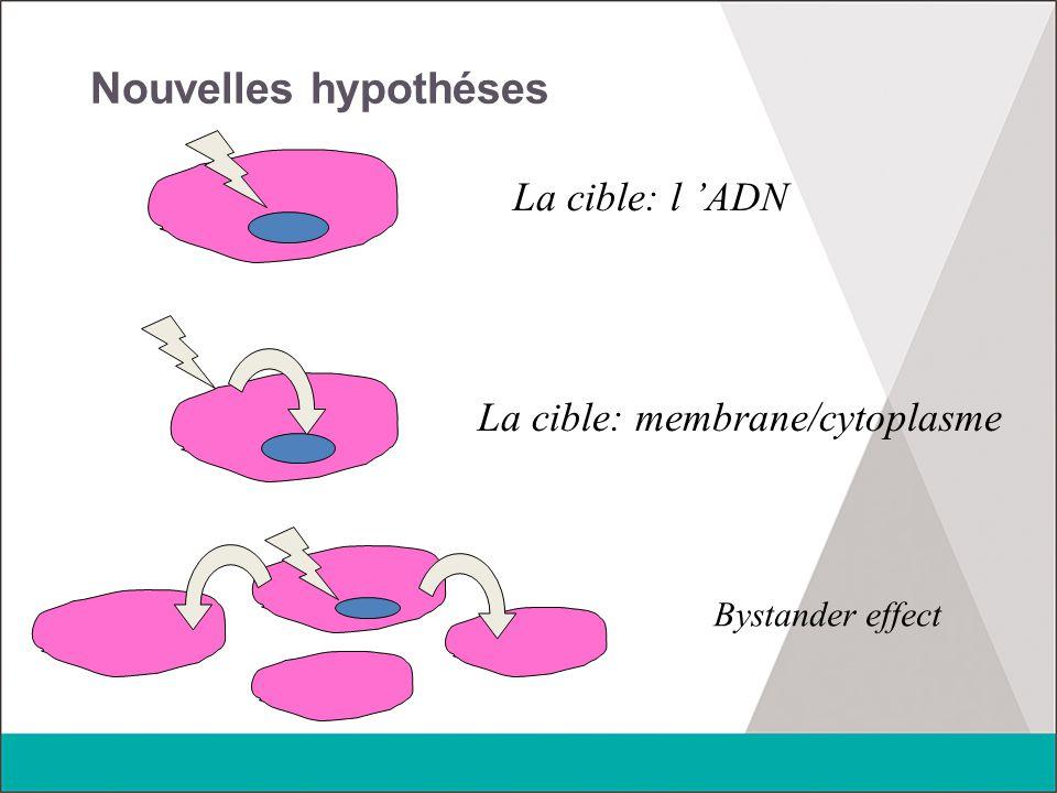 Nouvelles hypothéses La cible: l 'ADN La cible: membrane/cytoplasme Bystander effect