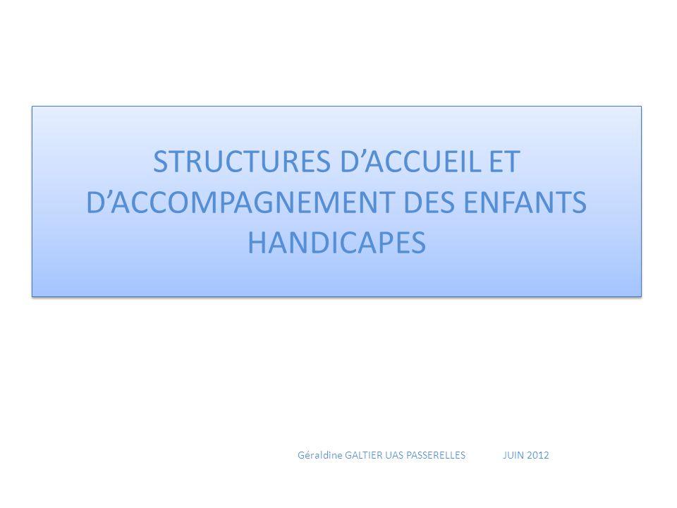 STRUCTURES D'ACCUEIL ET D'ACCOMPAGNEMENT DES ENFANTS HANDICAPES Géraldine GALTIER UAS PASSERELLES JUIN 2012