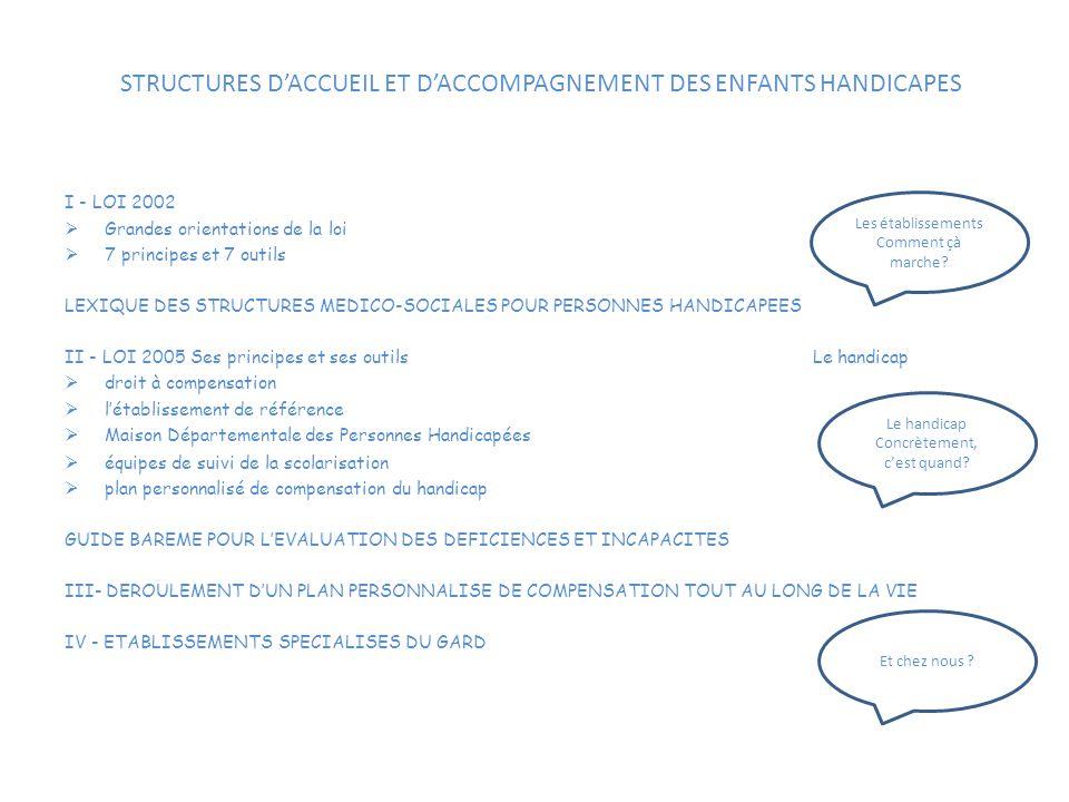 STRUCTURES D'ACCUEIL ET D'ACCOMPAGNEMENT DES ENFANTS HANDICAPES I - LOI 2002  Grandes orientations de la loi  7 principes et 7 outils LEXIQUE DES ST