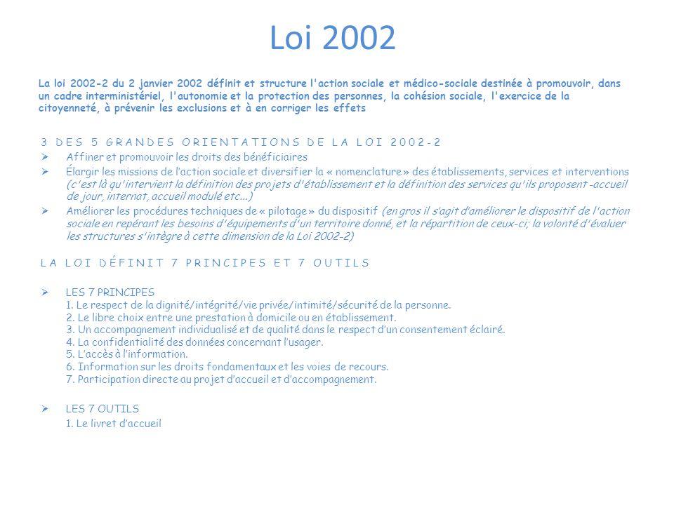 Loi 2002 3 DES 5 GRANDES ORIENTATIONS DE LA LOI 2002-2  Affiner et promouvoir les droits des bénéficiaires  Élargir les missions de l'action sociale