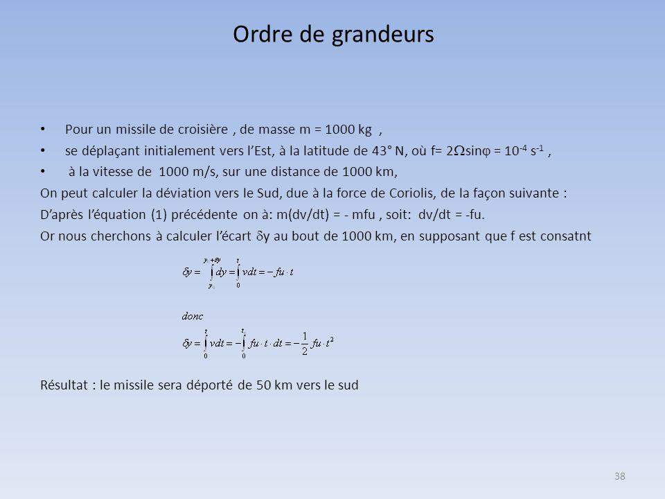 37 Annexe 1: calcul de la force de Coriolis à une latitude donnée Le terme est généralement bien inférieur à l'accélération de la pesanteur, de sorte