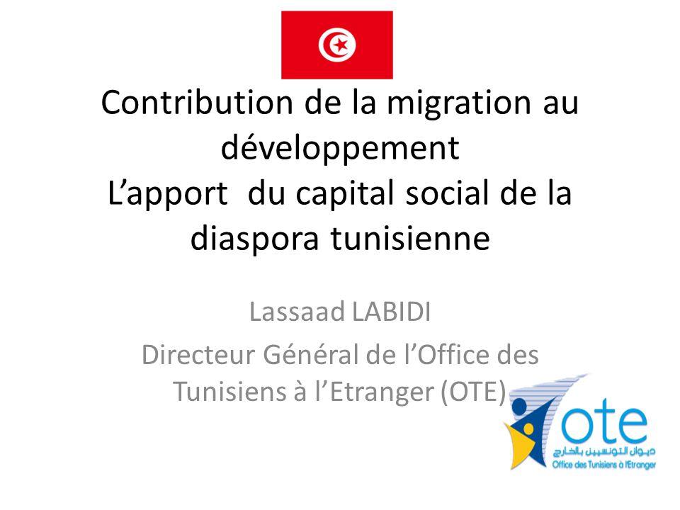 Contribution de la migration au développement L'apport du capital social de la diaspora tunisienne Lassaad LABIDI Directeur Général de l'Office des Tunisiens à l'Etranger (OTE)