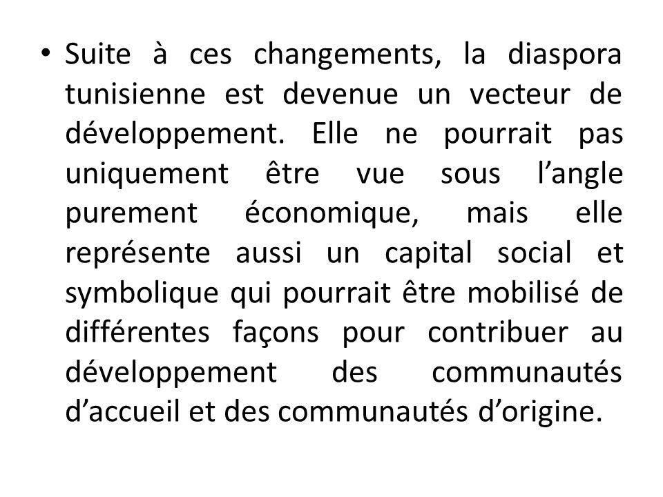 Suite à ces changements, la diaspora tunisienne est devenue un vecteur de développement.