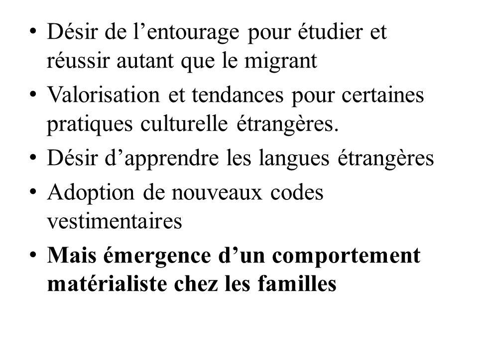 Désir de l'entourage pour étudier et réussir autant que le migrant Valorisation et tendances pour certaines pratiques culturelle étrangères.