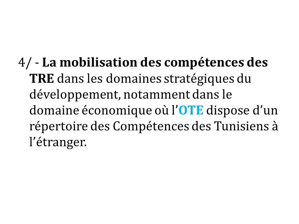 4/ - La mobilisation des compétences des TRE dans les domaines stratégiques du développement, notamment dans le domaine économique où l'OTE dispose d'un répertoire des Compétences des Tunisiens à l'étranger.