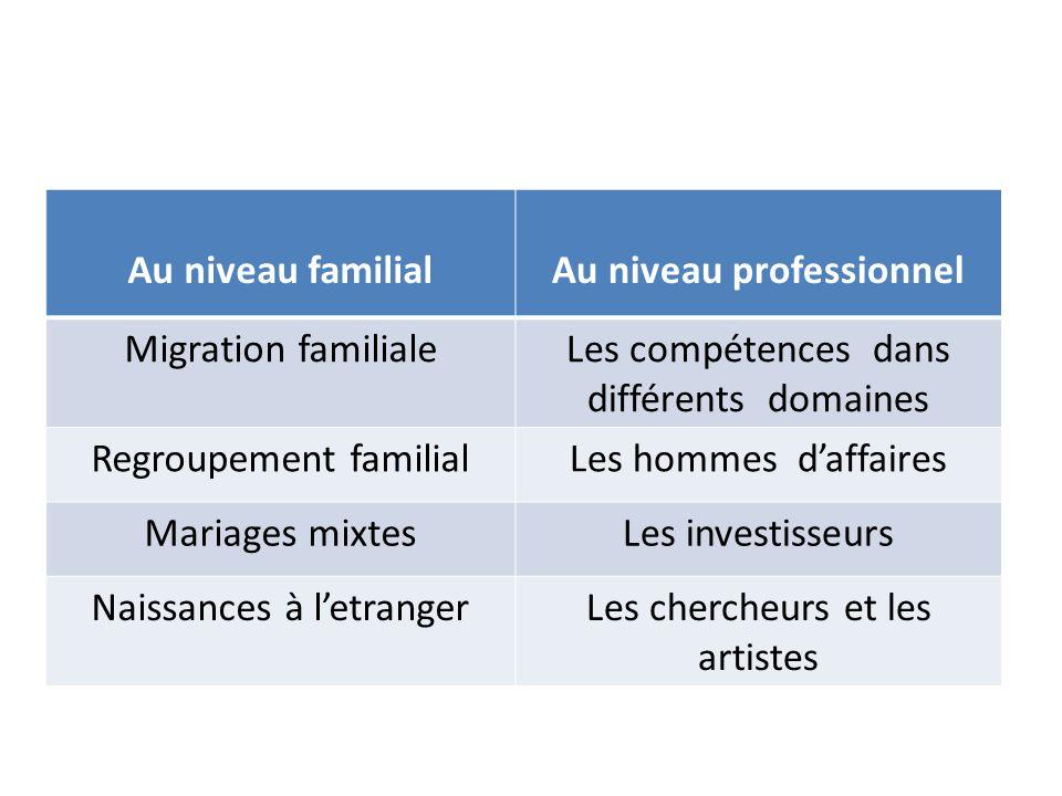 Au niveau familialAu niveau professionnel Migration familialeLes compétences dans différents domaines Regroupement familialLes hommes d'affaires Mariages mixtesLes investisseurs Naissances à l'etrangerLes chercheurs et les artistes