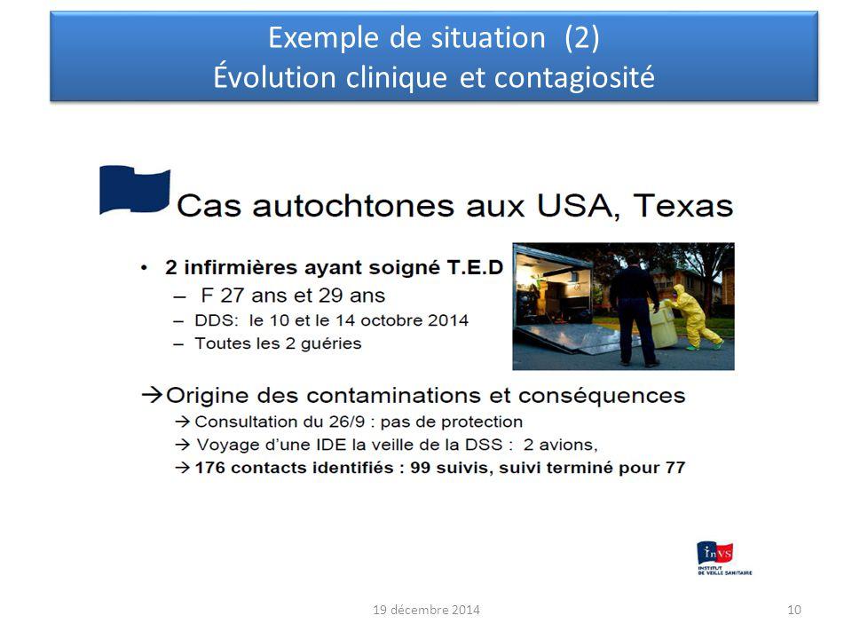 19 décembre 2014 11 Exemple de situation (3) Évolution clinique et contagiosité